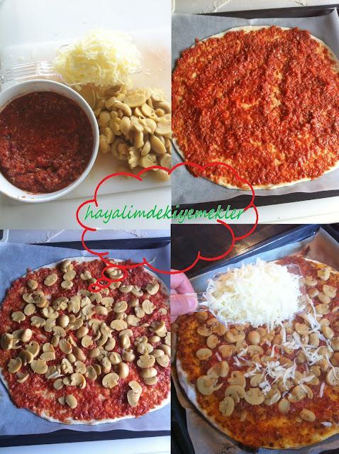 Kıymalı Mantarlı Pizza nasil yapilir